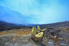 Sulfuro en Kawah Ijen Imagen de archivo libre de regalías