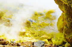 Sulfurous fumaroles, Vulcano, Lipari, Sicily, Italy Stock Image