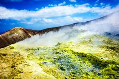 Sulfurous fumaroles, Vulcano, Lipari, Sicily, Italy royalty free stock images