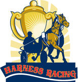 Sulkies harness horse cart racing. Illustration on sulkies,Harness cart horse racing viewed from low angle with championship cup and sunburst in background retro Stock Photography