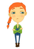 Sulky girl with braid and big eyes not smiling Royalty Free Stock Images
