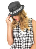 Sulky Sultry Young Woman Wearing Black Tilbury Hat Royalty Free Stock Photos