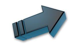 Sull'indicare freccia, segno tridimensionale metallico nero isolato su bianco Fotografia Stock