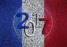 2017 sulla bandiera del francese Immagini Stock
