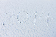 2014 sulla neve per l'nuovo anno ed il natale Fotografie Stock