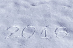 2016 sulla neve per il nuovo anno ed il natale Immagine Stock