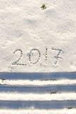 2017 sulla neve per il nuovo anno ed il Natale Immagini Stock