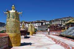 Sulla parte superiore del monastero di Ganden Fotografie Stock