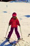 Sulla pista di corsa con gli sci nelle alpi svizzere Immagine Stock Libera da Diritti