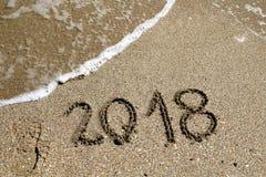 2018 sulla spiaggia immagini stock libere da diritti