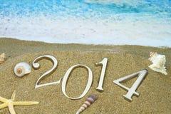 2014 sulla spiaggia Fotografie Stock Libere da Diritti
