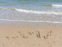 2017 sulla spiaggia del mare Immagine Stock