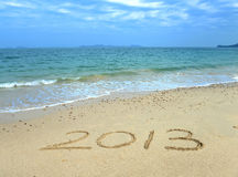 2013 sulla spiaggia di alba Immagini Stock Libere da Diritti