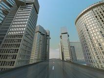 Sulla strada principale, vista della città Fotografia Stock