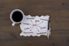 Sulla tavola un pezzo di carta e testo SEO - opti del motore di ricerca Fotografie Stock