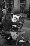 Sulle Ramblas d'Artisti di strada un Barcellona Image libre de droits