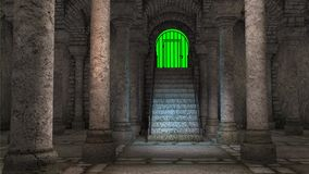 Sulle scale in un tempio antico royalty illustrazione gratis