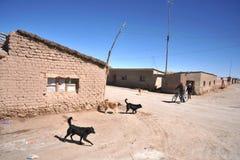 Sulle vie del villaggio sugli appartamenti del sale di Uyuni Fotografia Stock