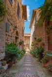 Sulle vie di Spello, villaggio pittoresco in Umbria, provincia di Perugia, Italia fotografie stock