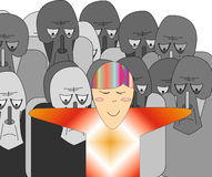 Sullen crowd and joyful person. Distinction between sorrow and happiness stock illustration