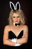 Sullen girl in sexy bunny costume Stock Image