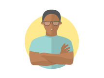 Sullen and gloomy handsome black man in glasses, offended guy.. Flat design icon. Morose, moody emotion. Simply editable isolated on white vector sign Stock Photos