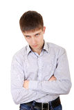Sullen Teenager. Portrait on the White Background Royalty Free Stock Photography