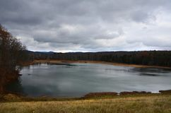 Sullivan Dam watershed in Horseheads New York during Autumn. Sullivanville Dam, New York State in the Southern Tier Region has a hiking trail, featuring access Royalty Free Stock Photo