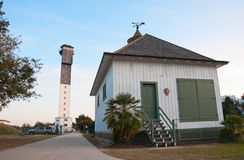 Sullivan's Island Lighthouse Entrance. Among the last lighthouses to be built along the Atlantic Coast is the 140-foot Sullivans Island Lighthouse, which is royalty free stock image