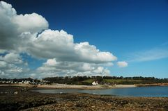 Sully island. With water, blues sky and white cloud stock photos