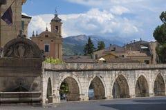 Sulmona Abruzzi, Italië, historische gebouwen royalty-vrije stock foto