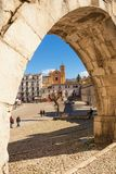 View from the arch of the aqueduct on the Piazza Garibaldi of Su. Sulmona, Italy - April 2, 2018: View from the arch of the aqueduct on the Piazza Garibaldi of Royalty Free Stock Photography