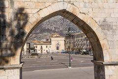 View from the arch of the aqueduct on the Piazza Garibaldi of Su. Sulmona, Italy - April 2, 2018: View from the arch of the aqueduct on the Piazza Garibaldi of Stock Image