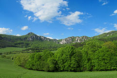 Sulov Rocks panoramic view. Sulov Rocks, Sulovske skaly national nature reserve situated in the Sulov Mountains region of Slovakia. Rocky crags take the shape of Royalty Free Stock Photography