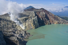 Sulphatic lake in a crater of volcano Ijen Royalty Free Stock Photo
