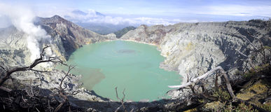 Sulphatic lake in a crater of volcano Ijen Royalty Free Stock Image
