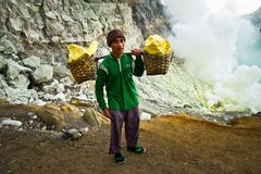 A sulpher miner of Ijen volcano, Ijen, Indonesia Royalty Free Stock Image