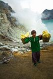 A sulpher miner of Ijen volcano, Ijen, Indonesia Royalty Free Stock Images
