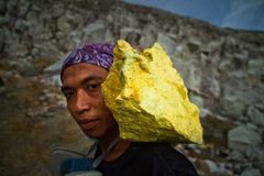 A sulpher miner of Ijen volcano, Ijen, Indonesia Stock Image