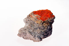 Sulphide mineral realgar. On the white background Stock Image