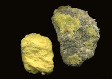 Sulphur. Sulfur or sulphur crystal formation Stock Images