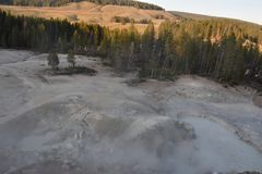 Sulphur Caldron at Yellowstone National Park. In the USA stock photo