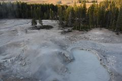 Sulphur Caldron at Yellowstone National Park. In the USA royalty free stock photography
