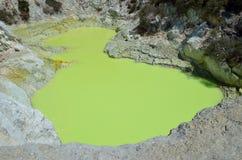 Sulphur crater lake at Wai-o-Tapu Royalty Free Stock Photography