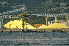 Sulphur depot, Burrard Inlet North Vancouver Royalty Free Stock Image