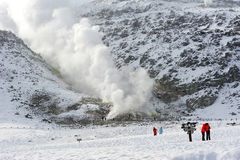Sulphur fumes and volcanic activity in Hokkaido Stock Photo