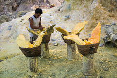 Sulphur mine man. Man works in sulphur mine preparing very heavy loads to be carried up the volcano manually. Ijen crater sulphur mine, Java Indonesia Royalty Free Stock Photos
