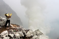 Sulphur miner in Ijen. In Indonesia royalty free stock photos