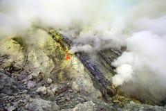 Sulphur mines Kawah Ijen in East Java, Indonesia Stock Images
