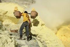 Sulphur mines Kawah Ijen in East Java, Indonesia Royalty Free Stock Photography